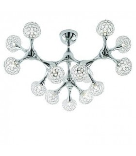 15 Light Large Ceiling Flush Light Chrome, Crystal