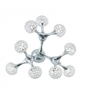 9 Light Medium Ceiling Flush Light Chrome, Crystal