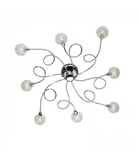 8 Light Indoor Flush Light Chrome Glass Bubble