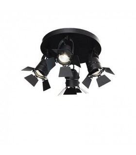 4 Light Ceiling Flush Light Black