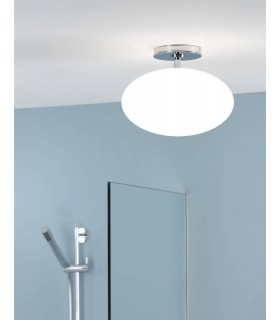 1 Light Semi Flush Bathroom Globe Ceiling Light Polished Chrome IP44