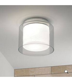 1 Light Bathroom Ceiling Light Clear Glass, Opal IP44, E27