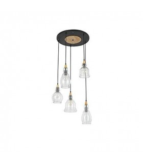5 Light Cluster Pendant Black with Clear Glass Shades, E27