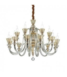 Strauss Rose Gold Finish And Glass Eighteen Light Chandelier - Ideal Lux 140629