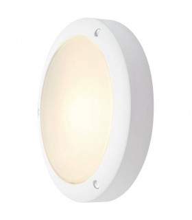 Outdoor Wall And Ceiling Bulkhead, Round, White, E14, Frosted Glass, IP44