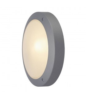 Outdoor Wall And Ceiling Bulkhead, Round, Silver-Grey, E14, Frosted Glass, IP44