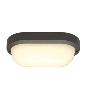 Wall And Ceiling Light, Oval, Anthracite, 22W Led, 3000K, Ip44