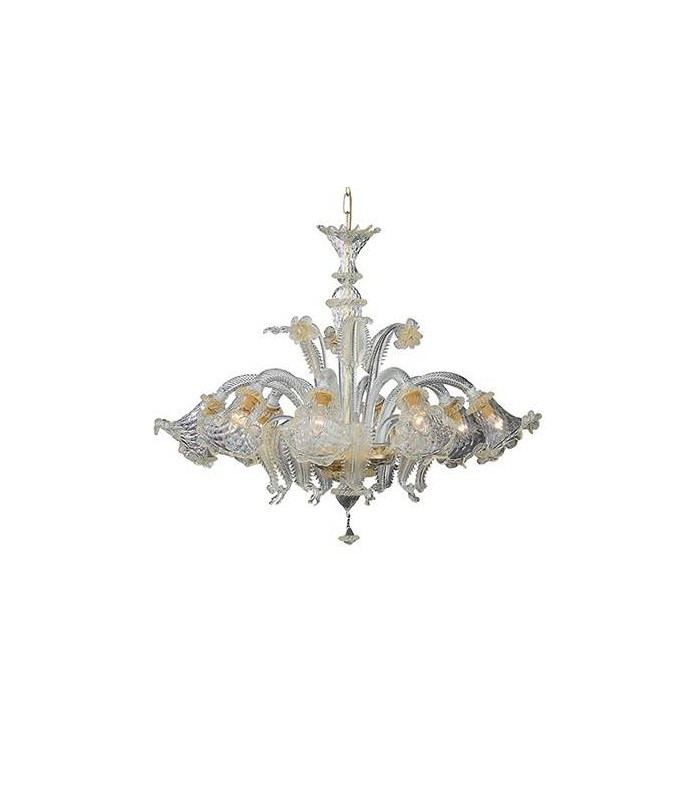 Amber Glass And Gold Metal Eight Light Chandelier