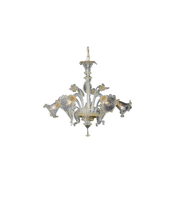 Amber Glass And Gold Metal Five Light Chandelier