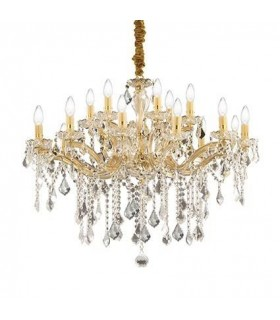 Florian Gold Finish Eighteen Light Chandelier With Clear Glass And Crystals - Ideal Lux 75181