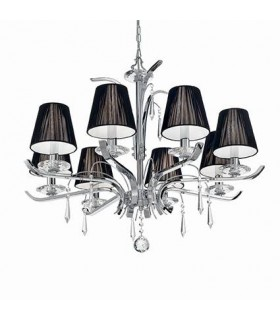 Chrome And Crystal Eight Light Chandelier With Black Shades