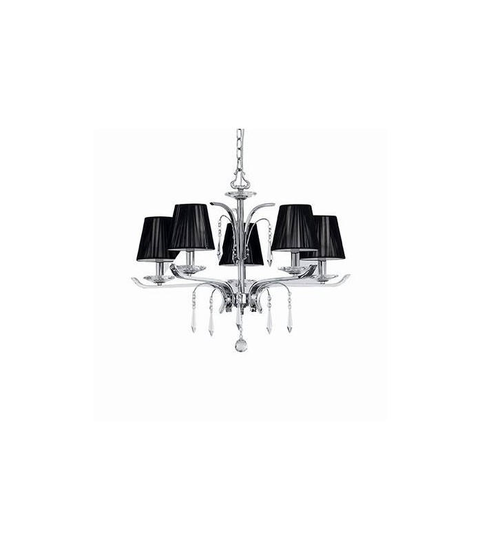 Chrome And Crystal Five Light Chandelier With Black Shades