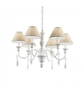 White Wood Six Light Chandelier With Beige Shades