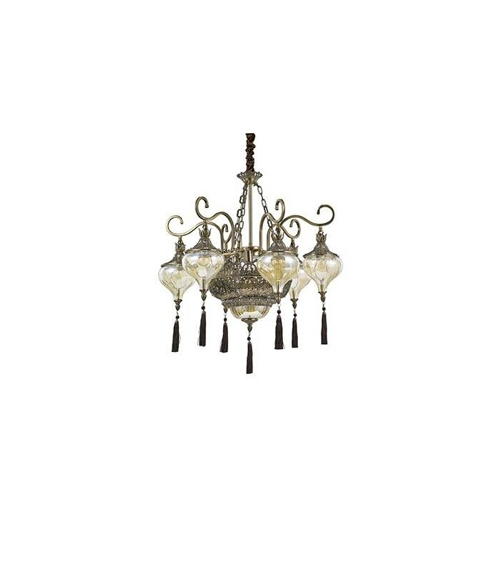 9 Light Chandelier Amber, Antique Brass Finish