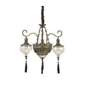 Antique Brass And Glass Five Light Chandelier