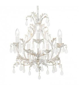 White And Gold Five Light Chandelier
