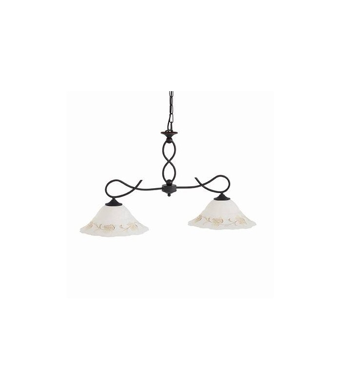 Ideal Lux - Foglia Black Two Light Pendant With White Decorated Glass IDL021416