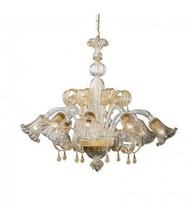 Ca' D'Oro Amber Glass Eight Light Chandelier - Ideal Lux 20976