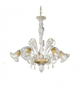 Ca' D'Oro Amber Glass Five Light Chandelier - Ideal Lux 20969