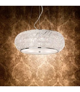 Pasha Chrome And Crystal Ten Light Pendant - Ideal Lux 82196