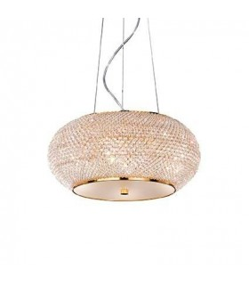 Pasha Gold Finish Six Light Pendant With Crystals - Ideal Lux 82172