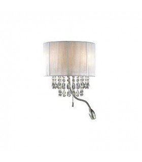 LED 3 Light Indoor Wall Light Chrome, Crystals And White Shade, E14