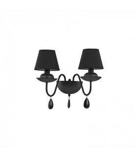 2 Light Indoor Wall Light Matt Black with Shades