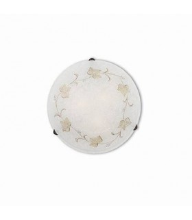 3 Light Indoor Flush Large Wall / Ceiling Light with White Decorated Glass, E27