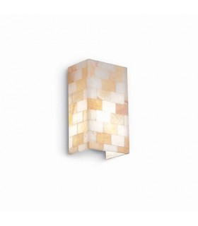 1 Light Up & Down Wall Light Amber with Small Alabaster Glass, E27