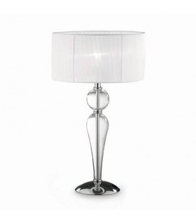 1 Light Large Table Lamp Chrome, White, Clear and Glass with Shade, E27