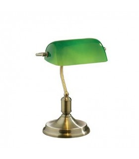 1 Light Banker Table Lamp Antique Brass with Green Glass Shade, E27