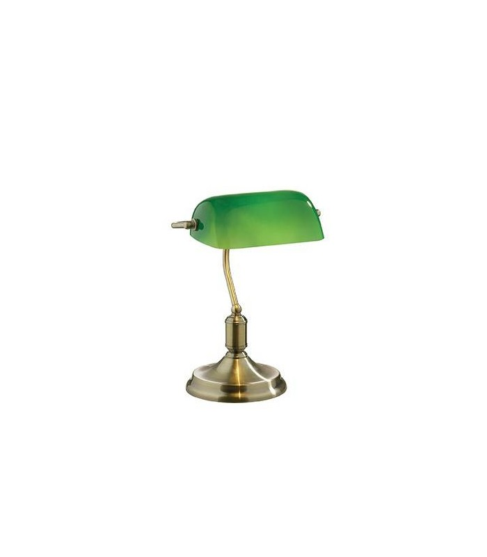 Antique Brass Desk Lamp With Green Glass Shade