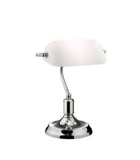 1 Light Banker Lamp Chrome with White Glass Shade