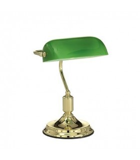 1 Light Banker Lamp Gold with Green Glass Shade