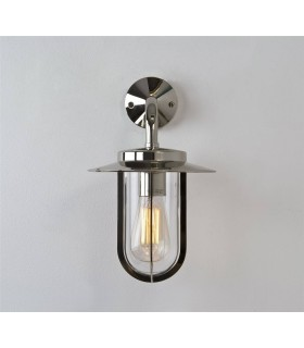 1 Light Outdoor Wall Lantern Polished Nickel IP44, E27