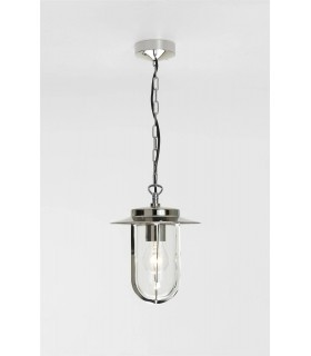 1 Light Outdoor Ceiling Pendant Light Polished Nickel IP44