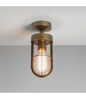 1 Light Outdoor Semi Flush Ceiling Light Antique Brass IP44
