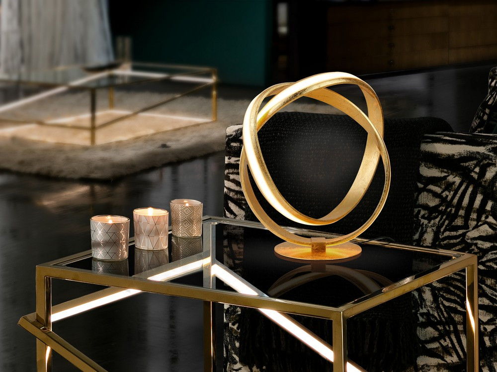 Integrated Led Table Lamp, Gold Leaf