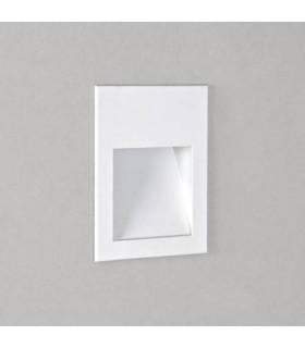 LED 1 Light Outdoor Small Recessed Square Marker Wall Light White IP65