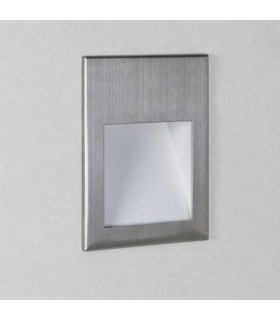LED 1 Light Small Recessed Square Marker Wall Light Brushed Stainless Steel IP65