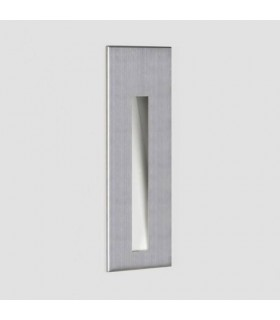 LED 1 Light Outdoor Small Recessed Square Marker Wall Brushed Stainless Steel IP65