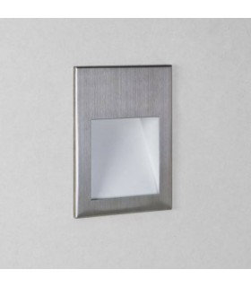 LED 1 Light Outdoor Recessed Square Marker Wall Light Brushed Stainless Steel