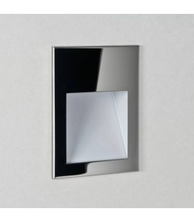 LED 1 Light Recessed Square Wall Light Polished Stainless Steel