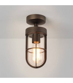 1 Light Outdoor Semi Flush Ceiling Light Bronze Plated IP44, E27