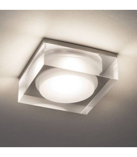 LED 1 Light Square Bathroom Surface Mounted Downlight Clear Acrylic IP44
