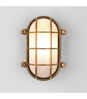 1 Light Outdoor Bulkhead Wall Light Natural Brass IP44, E27