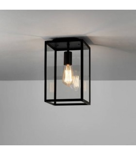 1 Light Outdoor Flush Ceiling Light Textured Black, E27