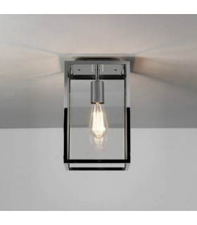 1 Light Outdoor Flush Ceiling Light Polished Nickel, E27