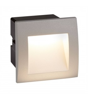 LED Indoor / Outdoor Square Recessed Wall Light Grey IP65