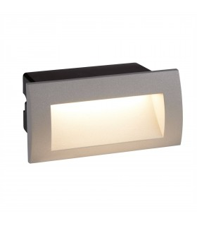 LED Indoor / Outdoor Recessed Rectangle Wall Light Grey IP65
